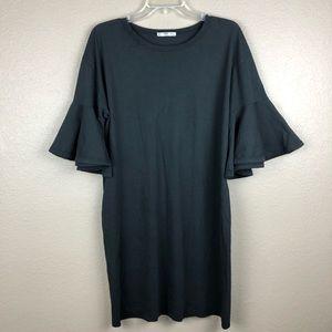 Zara Women Ruffled Sleeve T Shirt Dress Small